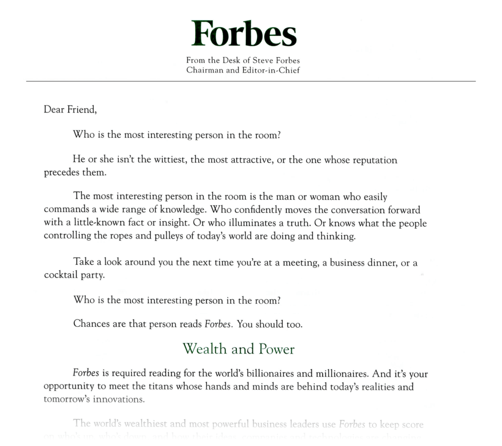 "Forbes magazine's ""Who is the most interesting person in the room?"" subscriber acquisitions letter"
